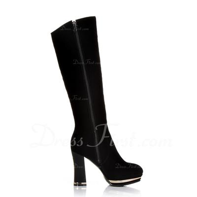 Süet Kalın Topuk Diz Yüksek Boots Ile Çiçek ayakkabı (088056534)