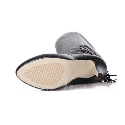 Gerçek Deri İnce Topuk Pompalar Platform Diz Yüksek Boots Ile Püskül ayakkabı (088057479)