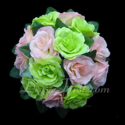 Charming Round Satin Bridal Bouquets (123031483)
