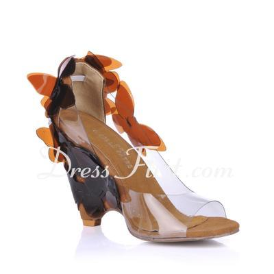 PVC Wedge Heel Sandals Wedges With Flower shoes (087015260)