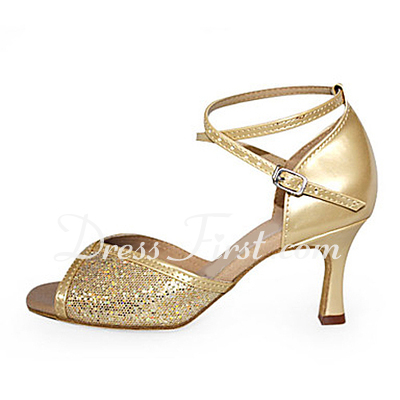 Women's Leatherette Sparkling Glitter Heels Sandals Latin Ballroom With Ankle Strap Dance Shoes (053013535)