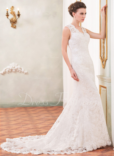 Trumpet/Mermaid V-neck Chapel Train Lace Wedding Dress With Beading Sequins (002055088)