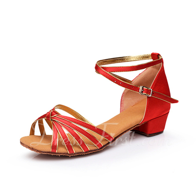 Women's Kids' Satin Heels Sandals Latin With Ankle Strap Dance Shoes (053054870)