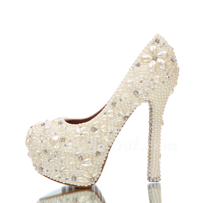 Women's Real Leather Stiletto Heel Closed Toe Platform Pumps With Imitation Pearl Rhinestone (047054764)