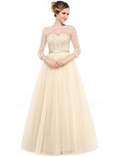 Ball-Gown Sweetheart Floor-Length Tulle Evening Dress With Beading Flower(s) (017050130)