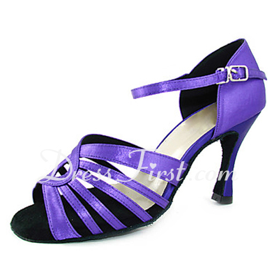 Women's Satin Heels Sandals Latin With Buckle Dance Shoes (053013350)