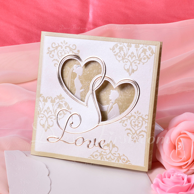 Heart Style Tri-Fold Invitation Cards (Set of 50) (114033287)