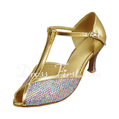 Women's Leatherette Sparkling Glitter Heels Sandals Latin With T-Strap Dance Shoes (053013310)