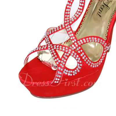 Women's Satin Stiletto Heel Pumps Sandals With Buckle Rhinestone (047057120)