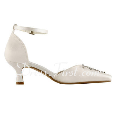 Women's Satin Spool Heel Closed Toe Pumps With Buckle Rhinestone (047011839)