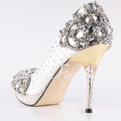 Women's Satin Cone Heel Closed Toe Platform Pumps With Rhinestone Crystal Heel (047033925)