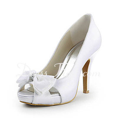 Women's Satin Cone Heel Peep Toe Platform Pumps With Bowknot Rhinestone (047015271)