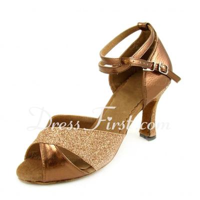 Kadın Suni deri Köpüklü Glitter Topuk Sandalet Latin Dans Ayakkabıları (053007248)