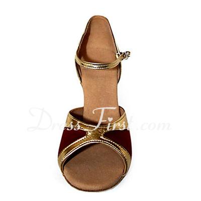 Kadın Saten Suni deri Topuk Sandalet Latin Dans Ayakkabıları (053013588)