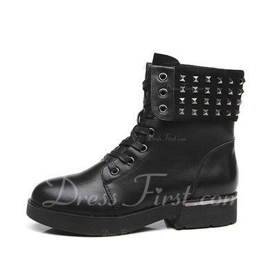 Gerçek Deri Alçak Topuk Ayak bileği Boots Martin Boots Ile Perçin ayakkabı (088057506)