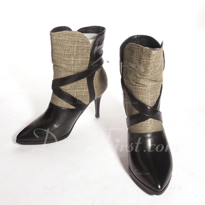 Real Leather Stiletto Heel Pumps Ankle Boots With Buckle shoes (088055863)