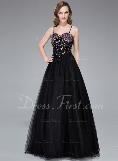Ball-Gown Sweetheart Floor-Length Tulle Sequined Prom Dress With Beading (018044973)