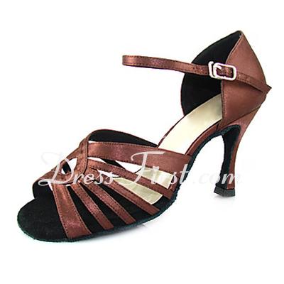 Kadın Saten Topuk Sandalet Latin Ile Toka Dans Ayakkabıları (053013350)