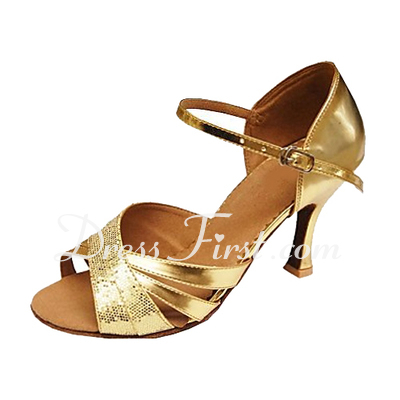 Women's Sparkling Glitter Patent Leather Heels Sandals Latin Wedding Party Dance Shoes (053013146)