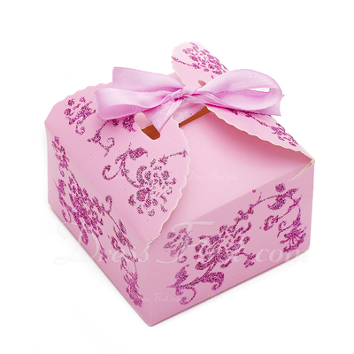 Floral Design Cuboid Card Paper Favor Boxes (Set of 12) (050024300)