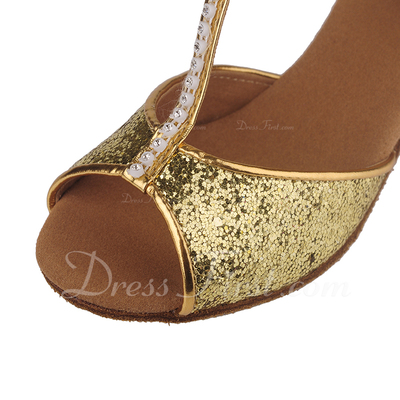 Women's Kids' Leatherette Heels Sandals Latin With T-Strap Dance Shoes (053057184)