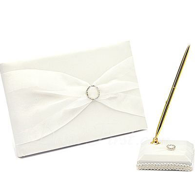 Simple Rhinestones/Bow Guestbook & Pen Set (101018185)