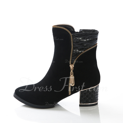 Real Leather Chunky Heel Ankle Boots With Zipper shoes (088057053)