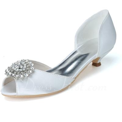 Kadın Satin Sivri Topuk Peep Toe Pompalar Ile Yapay elmas (047057082)