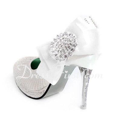 Kadın Suni deri İnce Topuk Kapalı Toe Pompalar Ile Ilmek Yapay elmas Pul (047011870)