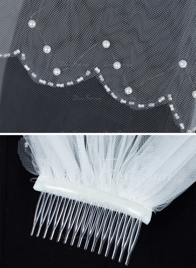 Two-tier Elbow Bridal Veils With Beaded Edge (006034189)