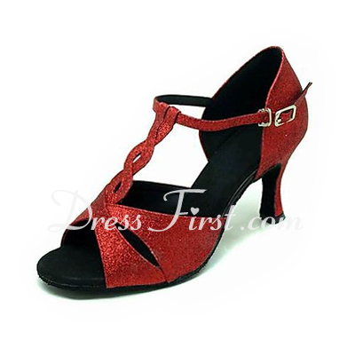 Women's Sparkling Glitter Heels Sandals Latin Ballroom With T-Strap Dance Shoes (053013396)