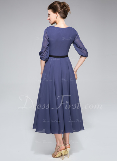 A-Line/Princess Scoop Neck Tea-Length Chiffon Mother of the Bride Dress With Sash Cascading Ruffles (008042829)