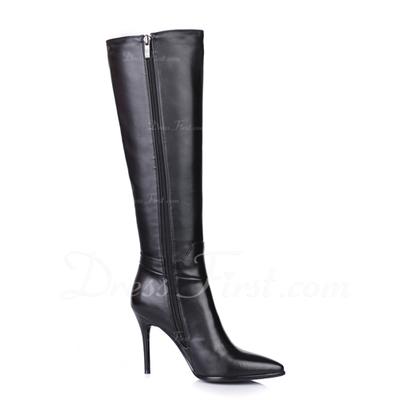Gerçek Deri İnce Topuk Diz Yüksek Boots Boots Binme ayakkabı (088057356)