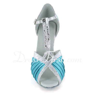 Women's Satin Leatherette Heels Sandals Latin With T-Strap Dance Shoes (053022303)