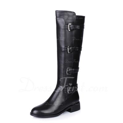Gerçek Deri Düz Topuk Diz Yüksek Boots Boots Binme Ile Toka ayakkabı (088057355)