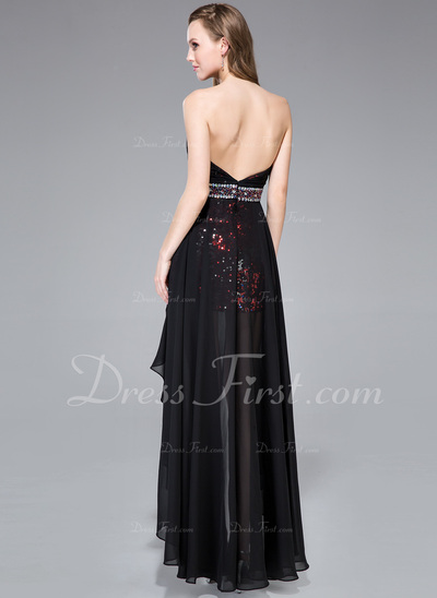 A-Line/Princess Sweetheart Asymmetrical Chiffon Sequined Prom Dress With Beading (018043242)
