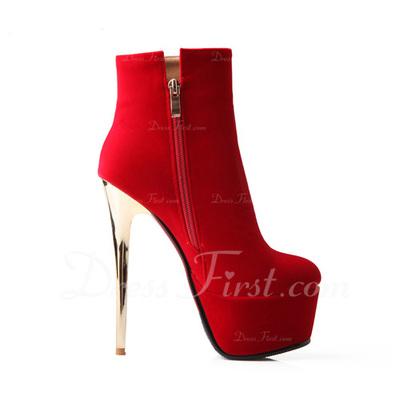 Süet İnce Topuk Platform Ayak bileği Boots ayakkabı (088057318)