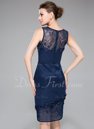 Sheath/Column Scoop Neck Knee-Length Satin Lace Cocktail Dress With Beading Flower(s) Sequins (016050422)