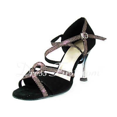 Women's Sparkling Glitter Nubuck Heels Sandals Latin With Ankle Strap Dance Shoes (053013461)