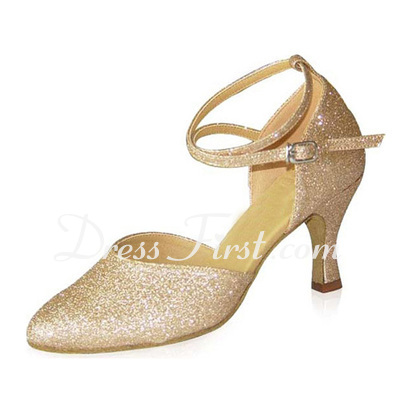 Women's Sparkling Glitter Heels Pumps Ballroom With Ankle Strap Dance Shoes (053021401)