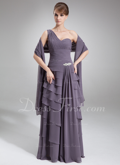 A-Line/Princess One-Shoulder Floor-Length Chiffon Mother of the Bride Dress With Ruffle Beading (008020813)