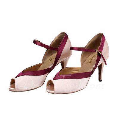Kadın Satin Topuk Sandalet Latin Ile Toka Dans Ayakkabıları (053057389)