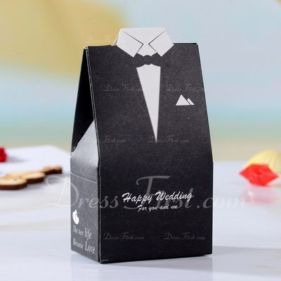 Tuxedo & Gown Favor Boxes With Ribbons (Set of 12) (050026291)