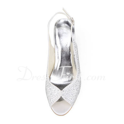 Women's Satin Stiletto Heel Peep Toe Sandals Slingbacks With Rhinestone (047011806)