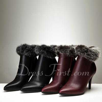 Gerçek Deri İnce Topuk Ayak bileği Boots Ile Kürk ayakkabı (088057369)