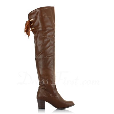 Leatherette Chunky Heel Over The Knee Boots shoes (088057252)