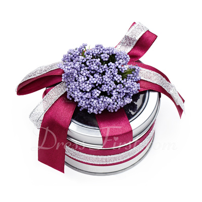 Lovely Cylinder Favor Tin With Flowers/Ribbons (Set of 6) (050016136)