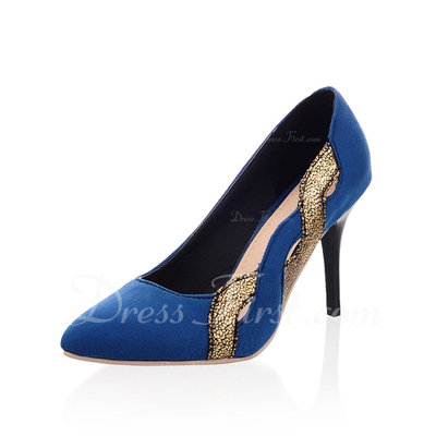 Suede Stiletto Heel Pumps Closed Toe shoes (085054465)