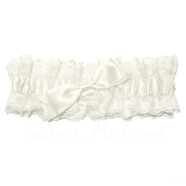 Lovely lace with bowknot wedding garter skirt 104024543 for Garter under wedding dress