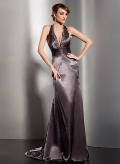 Princesový S ramínky za krkem Dlouhá vlečka Charmeuse Večerní šaty S Volán Zdobení korálky